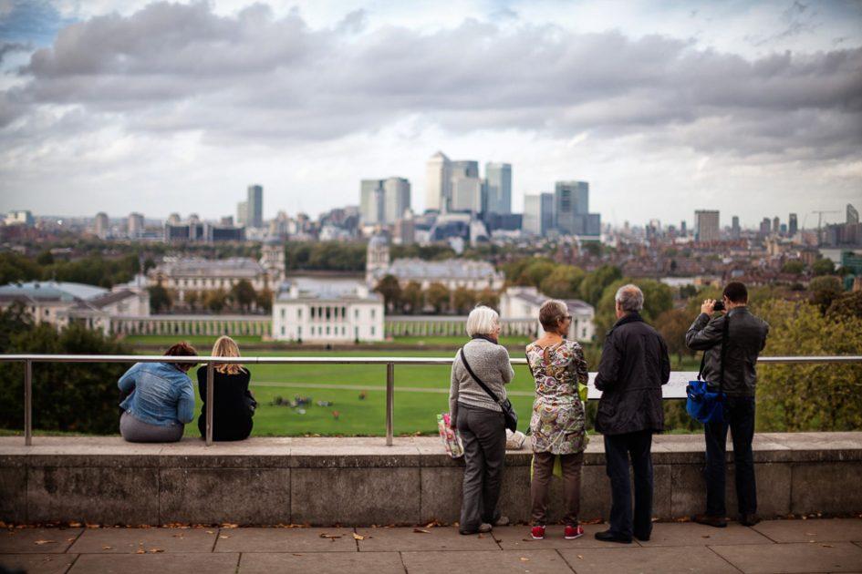 Vista dal Canary Warf su una Londra autunnale, le migliori destinazioni europee da visitare in autunno